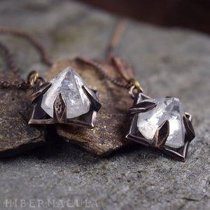 Apophyllite Pyramid -- Raw Crystal in Bronze or Silver Clasps | Hibernacula