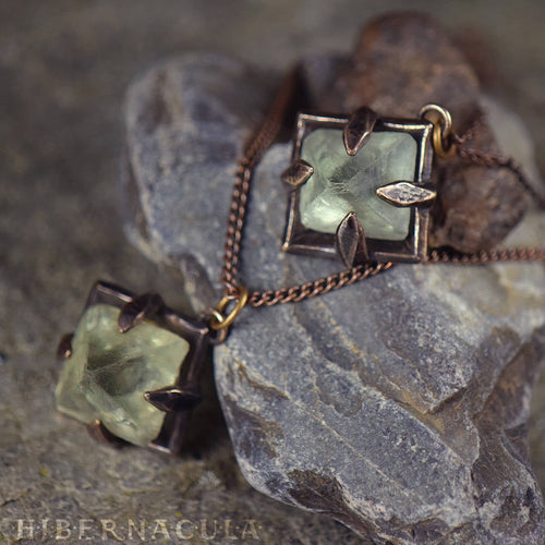 Focus Crystal -- Raw Fluorite Octahedron in Bronze or Silver | Hibernacula