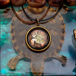 Turtle Spirit -- Brass Animal Totem Pendant | Hibernacula
