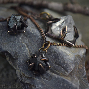 Compass Stone -- Raw Magnetite Crystal Set in Bronze or Silver | Hibernacula