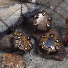 Load image into Gallery viewer, Dragon Stone -- Bronzite Disc set in Bronze or Silver | Hibernacula