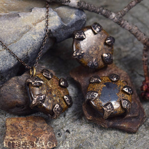 Dragon Stone -- Bronzite Disc set in Bronze or Silver | Hibernacula