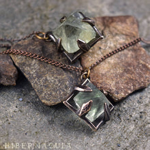 Load image into Gallery viewer, Focus Crystal -- Raw Fluorite Octahedron in Bronze or Silver | Hibernacula