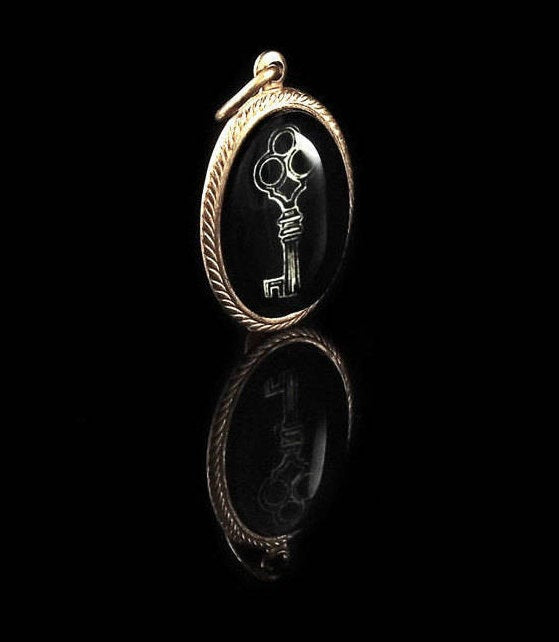 The Shadow Key -- Brass Pendant with Original Artwork | Hibernacula