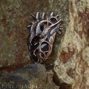 The Black Heart -- Anatomical Pendant In Bronze or Silver | Hibernacula