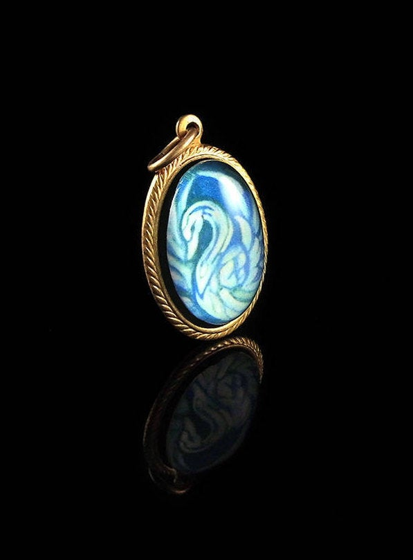 White Swan -- Brass Pendant with Original Artwork | Hibernacula