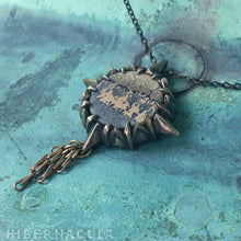 Load image into Gallery viewer, Journey Stone -- Compass Rose Dendritic Jasper Pendant in Bronze or Silver | Hibernacula