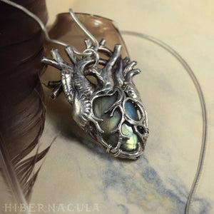 Heart of Winter -- Anatomical Labradorite Pendant in Bronze or Silver | Hibernacula