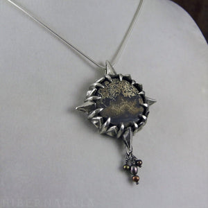 Journey Stone -- Compass Rose Dendritic Jasper Pendant in Bronze or Silver | Hibernacula