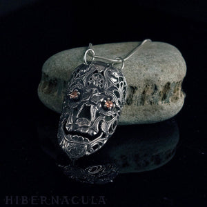 Calavera -- Gold Sapphire Mask in Bronze or Silver | Hibernacula