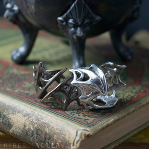 Nocturne -- Bat Wing Spiral Ring in Bronze or Silver | Hibernacula