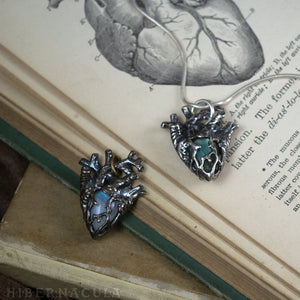 Heart of Stone -- Labradorite, Moonstone or Chalcedony Miniature Anatomical Heart Pendant | Hibernacula