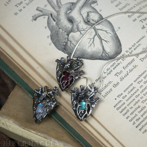 Heart of Stone -- Lapis Lazuli or Cherry Quartz Miniature Anatomical Heart Pendant | Hibernacula