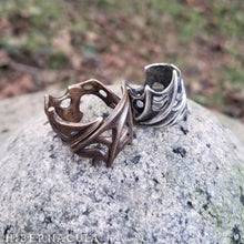 Load image into Gallery viewer, Nocturne -- Bat Wing Spiral Ring in Bronze or Silver | Hibernacula