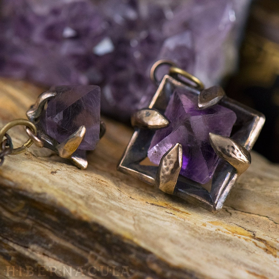 Focus Crystal -- Raw Teal or Purple Fluorite Octahedron Crystal in Bronze or Silver | Hibernacula