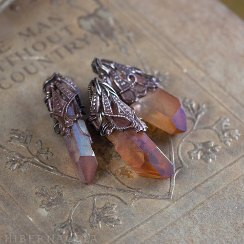 Fire Quartz -- Crystal & Filigree Pendant | Hibernacula