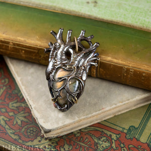 The Mystic Heart -- Rainbow-Gold Labradorite Pendant in Bronze | Hibernacula