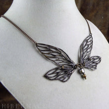 Load image into Gallery viewer, Faerie Wing Necklace -- In Bronze or Silver | Hibernacula
