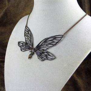 Faerie Wing Necklace -- In Bronze or Silver | Hibernacula