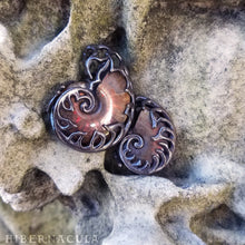 Load image into Gallery viewer, Ammonite Reliquary -- Red Opal Fossil in Bronze or Silver | Hibernacula