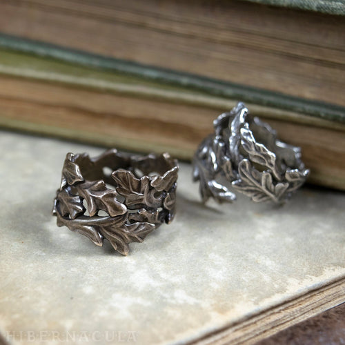 Wise Oak -- Leaf Wrap Ring in Bronze or Silver | Hibernacula