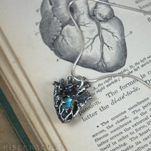 Load image into Gallery viewer, Heart of Stone -- Labradorite, Moonstone or Chalcedony Miniature Anatomical Heart Pendant | Hibernacula