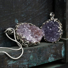 Load image into Gallery viewer, Amethyst Nest -- Amethyst Geode in Bronze or Silver | Hibernacula