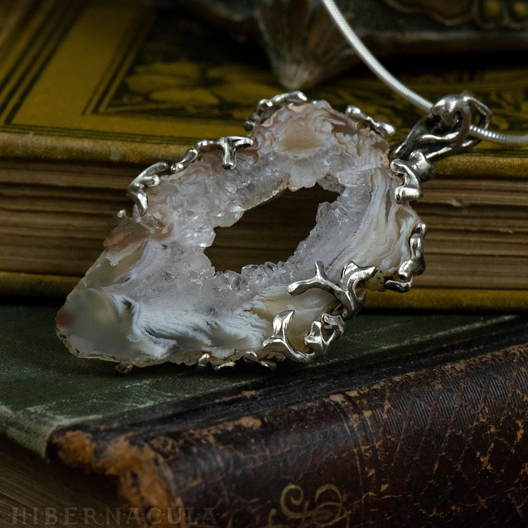 Worlds Within Worlds -- In Silver with Agate, Carnelian, Druzy Quartz Crystal | Hibernacula
