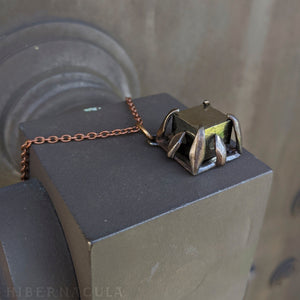 Pyrite Cube -- Cubic Crystal set in Bronze or Silver | Hibernacula