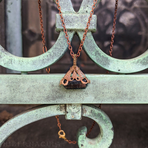 Tourmaline Triangle -- Black Crystal & Filigree Pendant | Hibernacula
