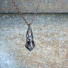 Load image into Gallery viewer, Magnetite Pendulum -- Raw Magnetite Crystal in Bronze or Silver | Hibernacula