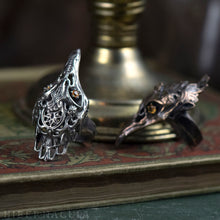 Load image into Gallery viewer, Firebird -- Bird Skull Ring in Bronze or Silver with Flaming Yellow Sapphires | Hibernacula