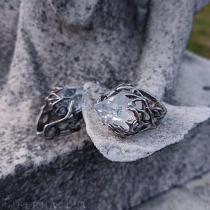Apophyllite Pyramid -- Adjustable Spiral Ring in Bronze or Silver | Hibernacula