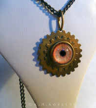 Load image into Gallery viewer, Steampunk Emblem -- Orange / Lion -- Brass Gear Pendant | Hibernacula