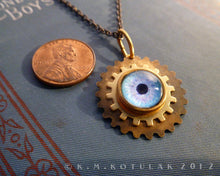 Load image into Gallery viewer, Steampunk Emblem -- Winter Blue -- Brass Gear Pendant | Hibernacula