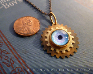 Steampunk Emblem -- Winter Blue -- Brass Gear Pendant | Hibernacula