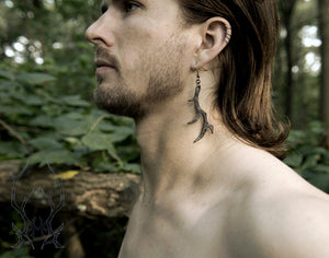 Horned God Antler Earrings -- In Bronze or Silver | Hibernacula