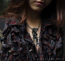 Load image into Gallery viewer, The Briar Thornbraid -- Thorn Puzzle Necklace in Bronze or Silver | Hibernacula
