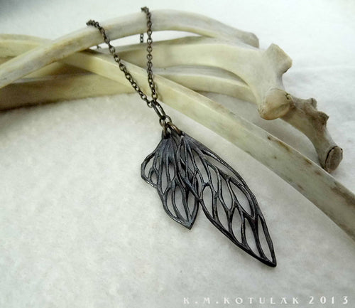 Cicada Wings -- Pendant in Bronze or Silver | Hibernacula