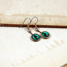 Load image into Gallery viewer, Serpent Eyes -- Numina Iris Earrings in Red & Green | Hibernacula