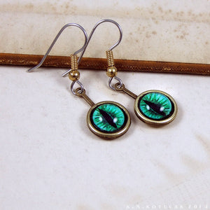 Serpent Eyes -- Numina Iris Earrings in Red & Green | Hibernacula