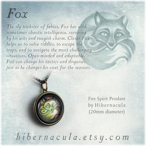 Fox Spirit -- Brass Animal Totem Pendant | Hibernacula