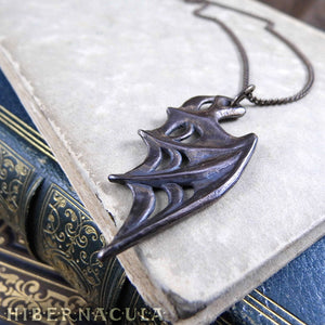 Nocturne Wing -- Dragon / Demon / Bat Wing Pendant in Bronze or Silver | Hibernacula