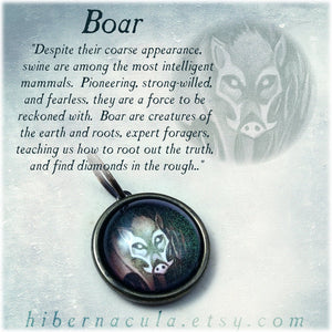 Boar Spirit -- Brass Animal Totem Pendant | Hibernacula
