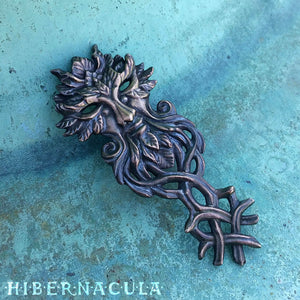 Key of the Green Man -- Pendant in Bronze or Silver | Hibernacula