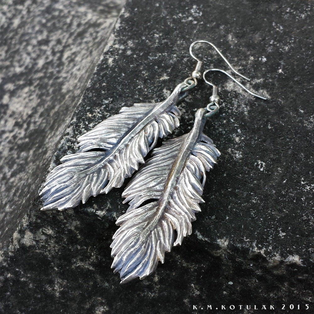 Owl Feather -- Earrings in Bronze or Silver | Hibernacula