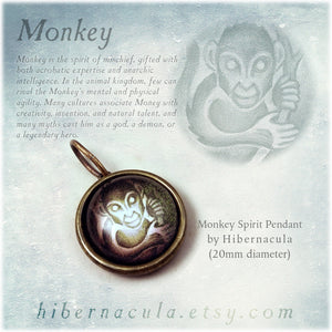 Monkey Spirit -- Brass Animal Totem Pendant | Hibernacula