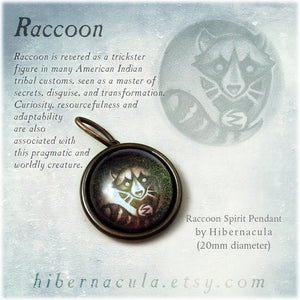 Raccoon Spirit -- Brass Animal Totem Pendant | Hibernacula