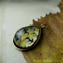 Load image into Gallery viewer, Fern Drop -- Preserved Fern Pendant in Brass | Hibernacula