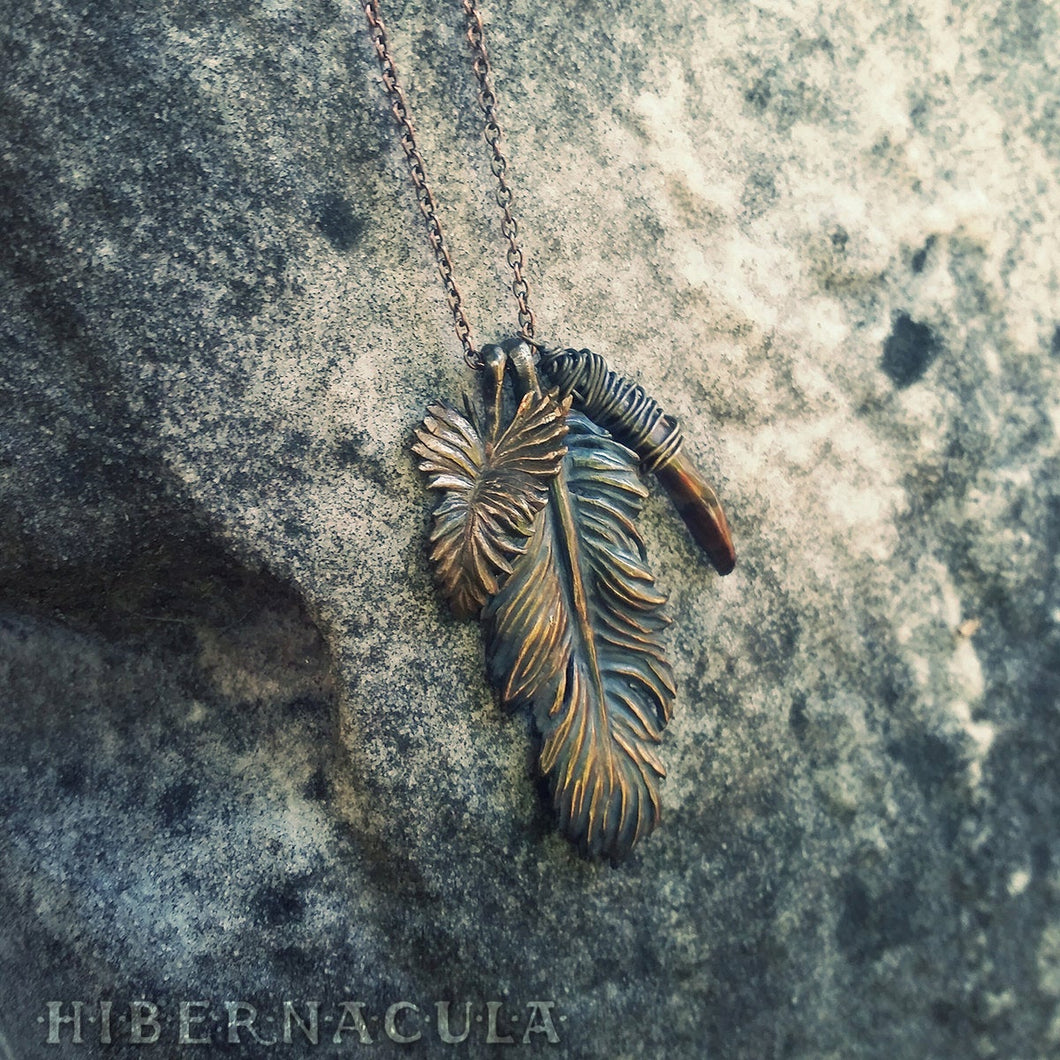 Wind Rider - Bronze Feather & Baroque Pearl Necklace | Hibernacula